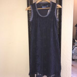 Simply Vera Navy lace overlay knit tank dress